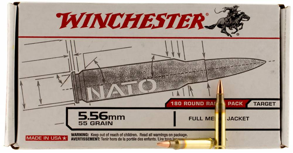 Winchester Ammo USAW Rifle 223 Remington/5.56 NATO 55 GR Full Metal Jacket 180 Bx/ 5 Cs