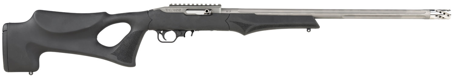 """T/C Arms 12086 Performance Center T/CR22 22 LR 10+1 20"""" Black Hogue OverMolded Thumbhole Stock Satin Stainless"""