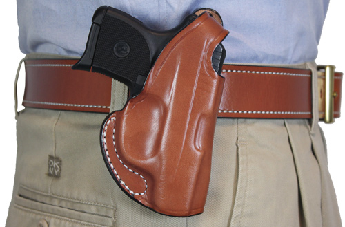DESANTIS MAVERICK HOLSTER RH OWB LEATHER GLOCK 42 TAN