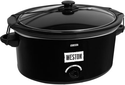 WESTON SLOW COOKER 8 QUART W/ LID & LATCH STRAP BLACK