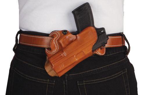 DESANTIS SMALL OF BACK HOLSTER RH OWB LEATHER M&P 9/40 TAN