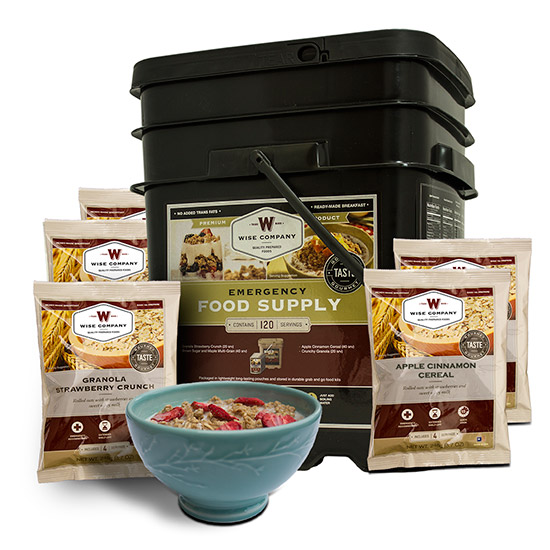 Wise Foods 01121 Grab N Go Bucket Breakfast Only 120 Servings Dehydrated/Freeze Dried