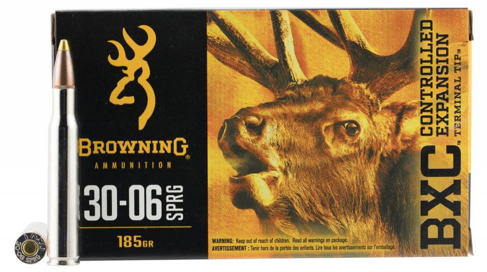 Browning Ammo BXC Controlled Expansion 30-06 Springfield 185 GR Terminal Tip 20 Bx/ 10 Cs