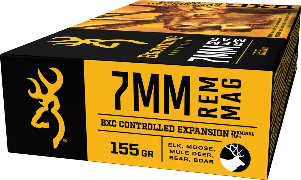 Browning Ammo BXC Controlled Expansion 7mm Rem Mag 155 GR Terminal Tip 20 Bx/ 10 Cs