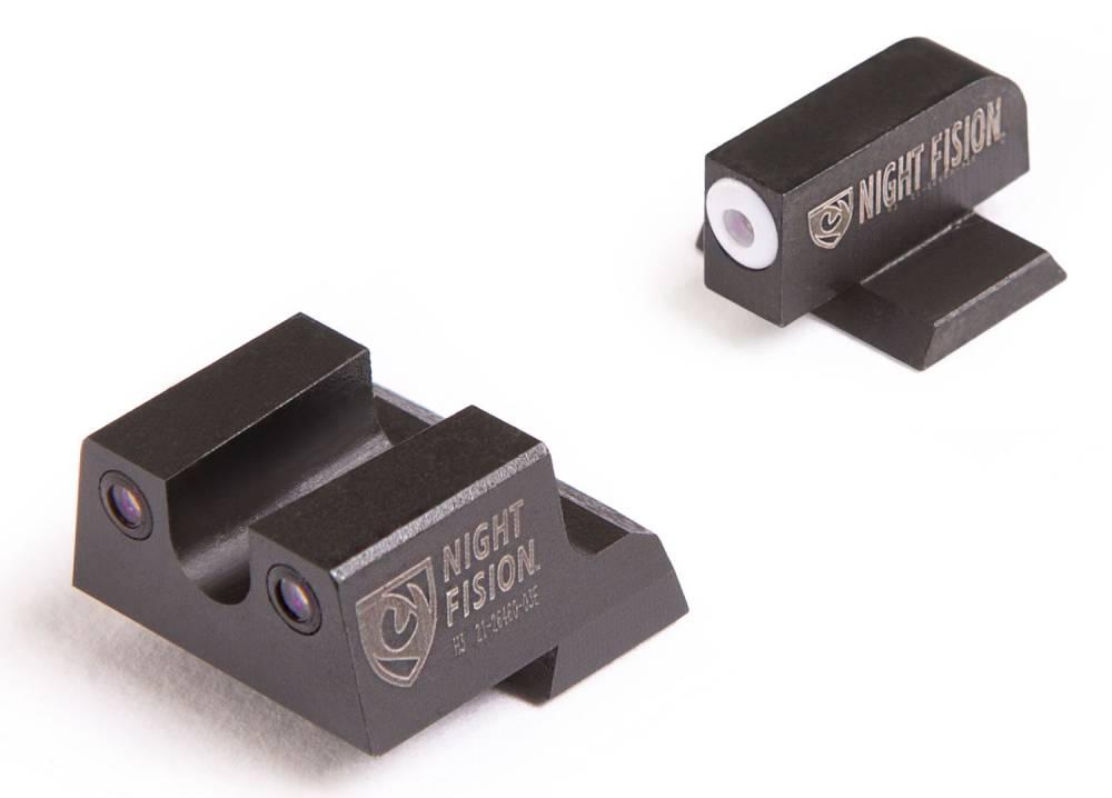 Night Fision CNK026007WGZ Night Sight Set Square Front/U-Notch Rear Century Canik TP9SFx/TP9SFL Green Tritium w/White Outline Tritium Black