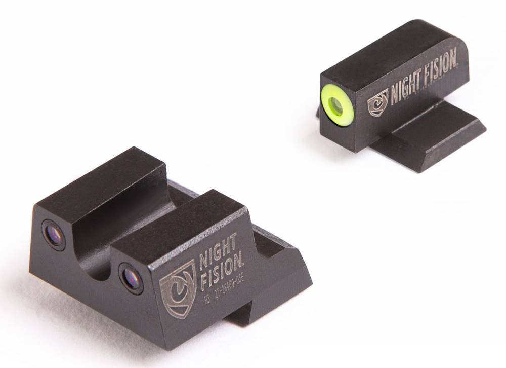 Night Fision CNK026007YGZ Night Sight Set U-Notch Rear Century Canik TP9SFx/TP9SFL Green Tritium w/Yellow Outline Black Tritium