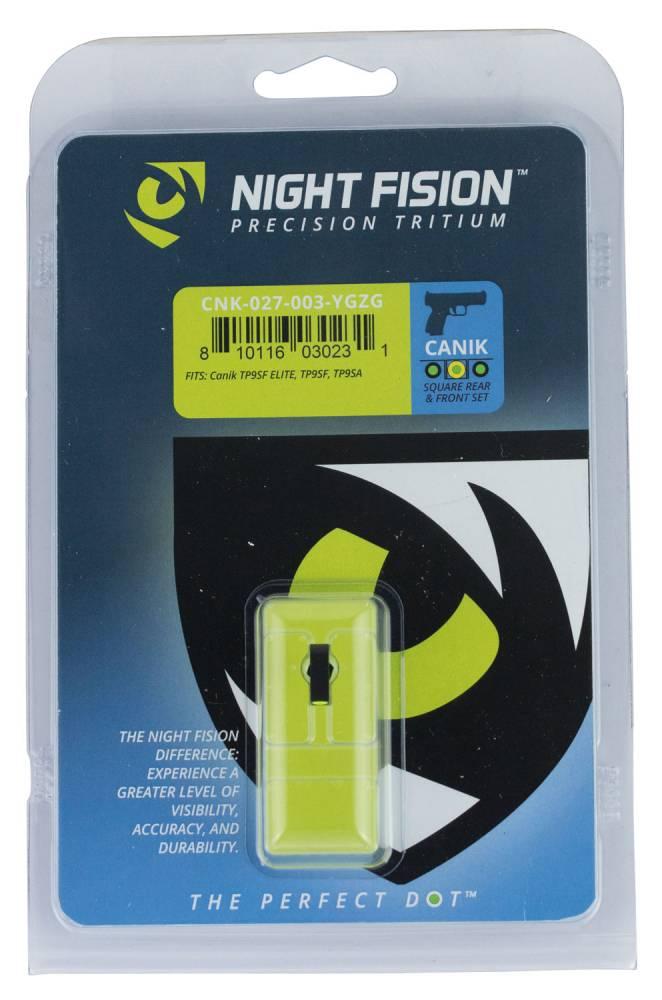 Night Fision CNK027003YGZ Night Sight Set Square Century Canik TP9SF/TP9SF Elite/TP9SA Green Tritium w/Yellow Outline Black