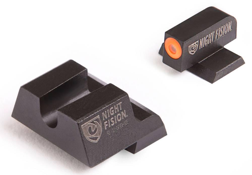 Night Fision CNK027014OGZ Night Sight Set Square Front/U-Notch Rear Century Canik TP9SF/TP9SF Elite/TP9SA Green Tritium w/Orange Outline Black