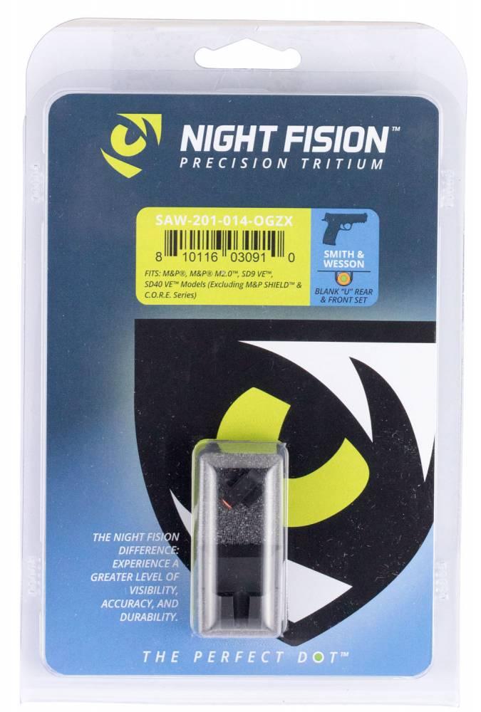 Night Fision SAW201014OGZ Night Sight Set Square Front/U-Notch Rear S&W M&P/SD9 VE/SD40 VE Green Tritium w/Orange Outline Black