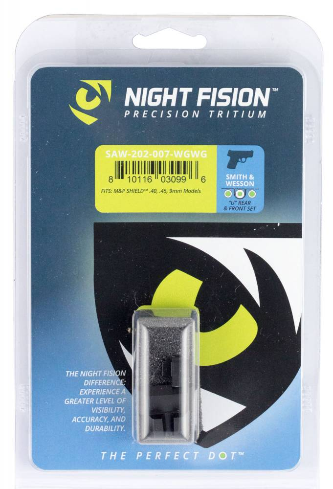 Night Fision SAW202007WGW Night Sight Set Square Front/U-Notch Rear S&W M&P Shield Green Tritium w/White Outline Black