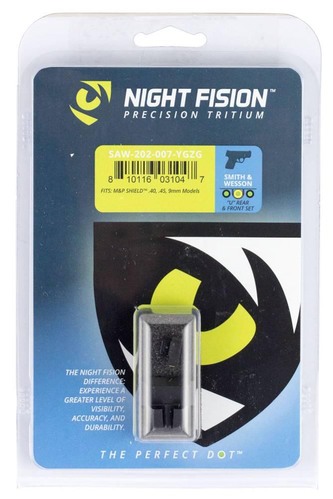 Night Fision SAW202007YGZ Night Sight Set Square Front/U-Notch Rear S&W M&P Shield Green Tritium w/Yellow Outline Black