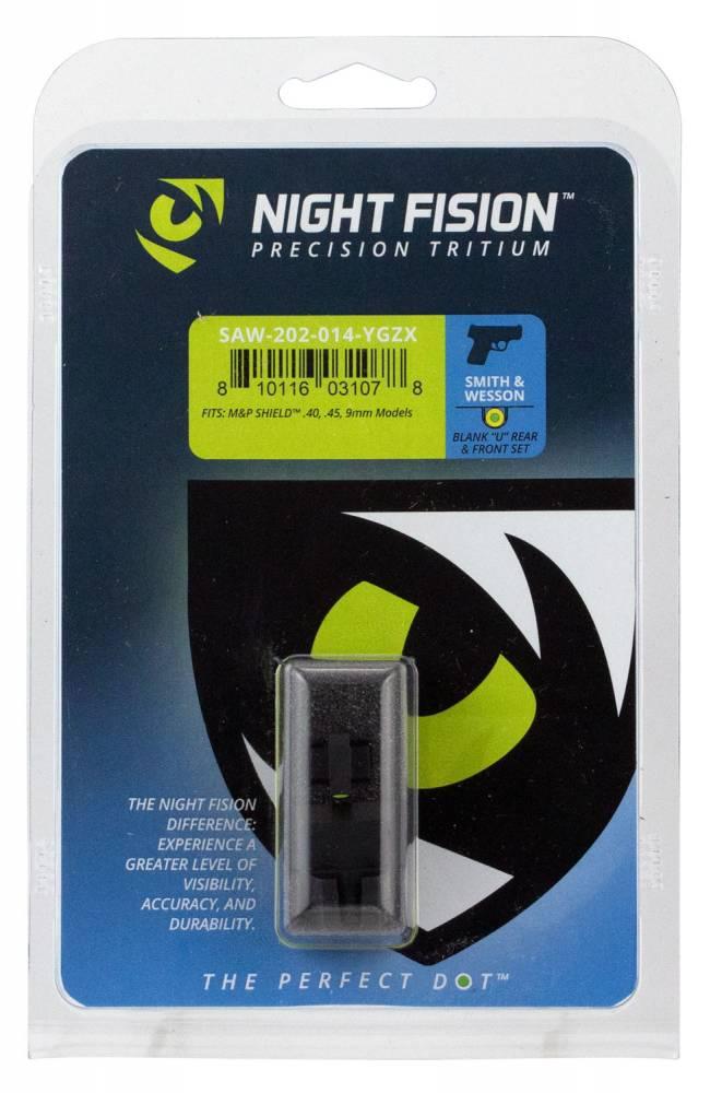 Night Fision SAW202014YGZ Night Sight Set Square Front/U-Notch Rear S&W M&P Shield Green Tritium w/Yellow Outline Black