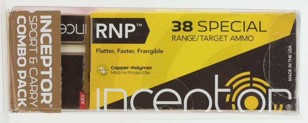 Inceptor 38SPLRNDARX Sport & Carry Combo Pack 38 Special 84/77 gr RNP/ARX 120 Bx/ 12 Cs