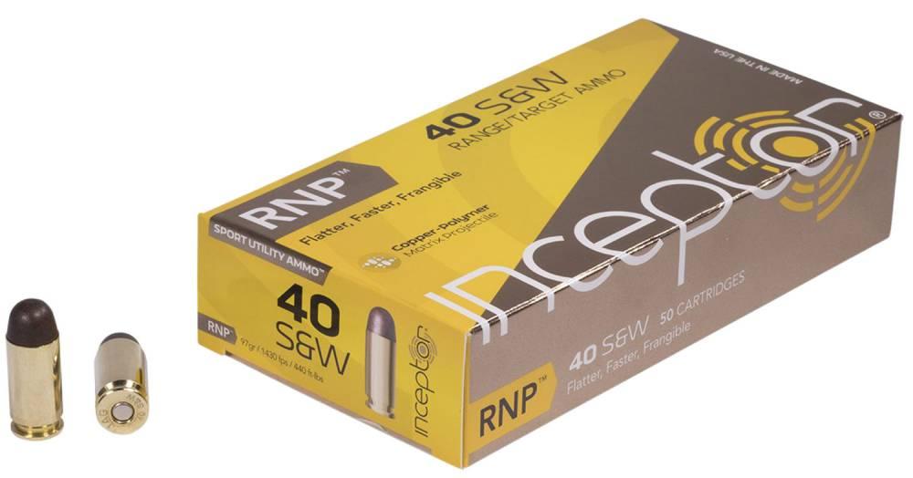 Inceptor 40RNPBRSW50 Sport Utility 40 S&W 97 gr RNP 50 Bx/ 20 Cs