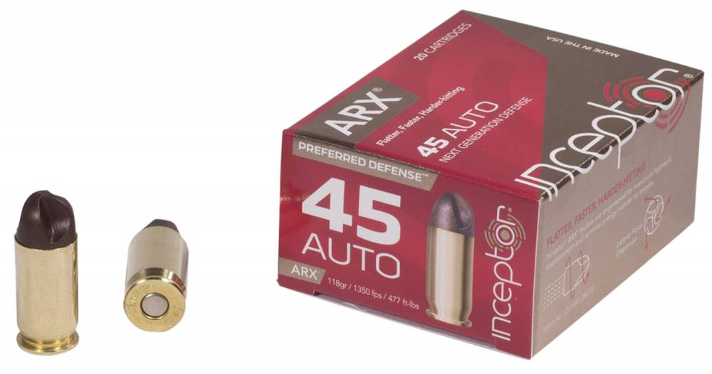 Inceptor 45ARXBR11820 Preferred Defense 45 ACP 118 gr ARX 20 Bx/ 10 Cs