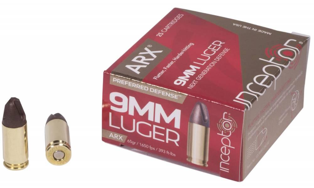 Inceptor 9ARXBRLUG65 Preferred Defense 9mm Luger 65 gr ARX 25 Bx/ 10 Cs
