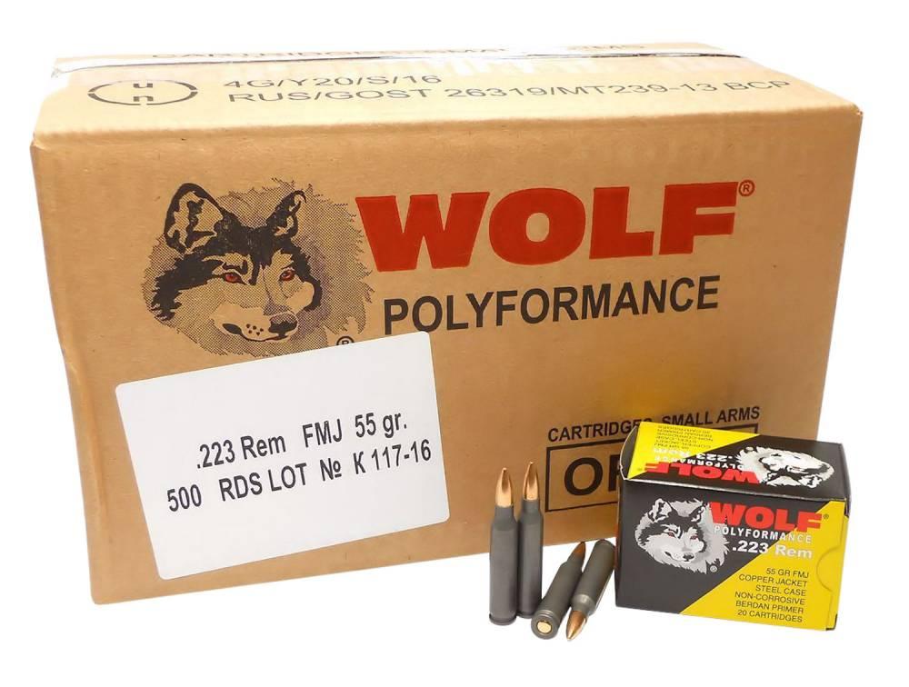 Wolf PolyFormance 223 Rem/5.56 NATO 55 GR Full Metal Jacket (FMJ) 20 Bx/ 25 Cs