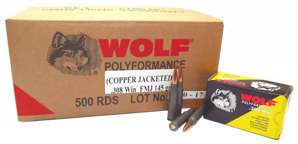 Wolf PolyFormance 308 Winchester/7.62 NATO 145 GR Full Metal Jacket 20 Bx/ 25 Cs 500 Total (Case)