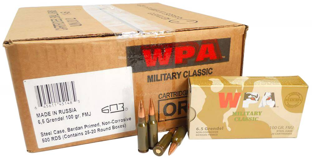 Wolf MC65GRENFMH Military Classic  6.5 Grendel 100 gr Full Metal Jacket (FMJ) 20 Bx/ 25 Cs 500rds