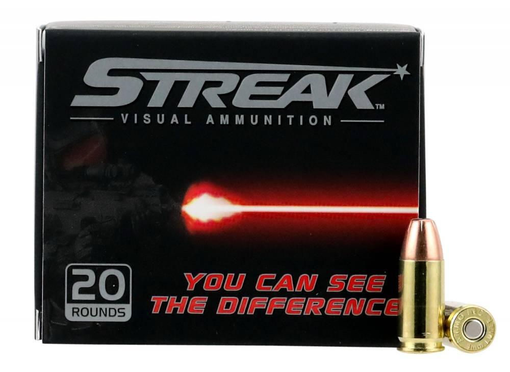 Ammo Inc 9115JHPSTRKR Streak  9mm Luger 115 gr Jacketed Hollow Point (JHP) 20 Bx/ 10 Cs
