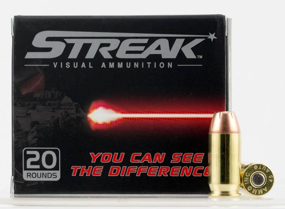 Ammo Inc 45230JHPSTRK Streak  45 ACP 230 gr Jacketed Hollow Point (JHP) 20 Bx/ 10 Cs