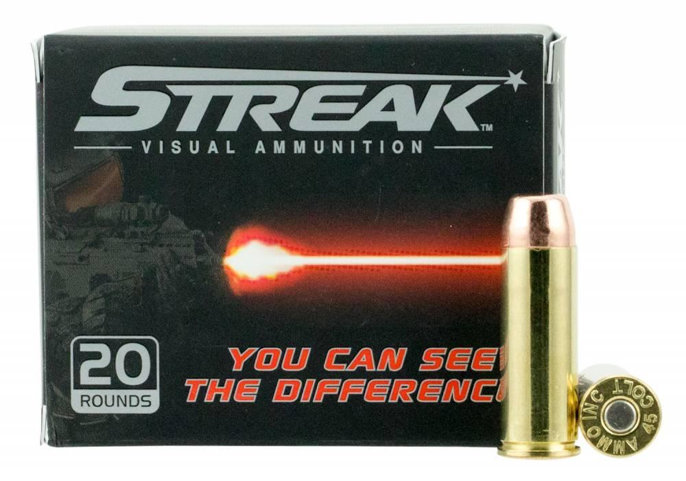 Ammo Inc 45C250TMCSTR Streak  45 Colt (LC) 250 gr Total Metal Jacket (TMJ) 20 Bx/ 10 Cs