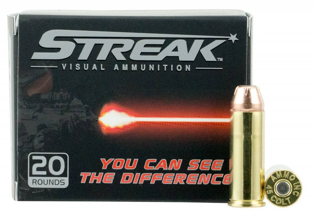 Ammo Inc 45C250JHPSTR Streak  45 Colt (LC) 250 gr Jacketed Hollow Point (JHP) 20 Bx/ 10 Cs