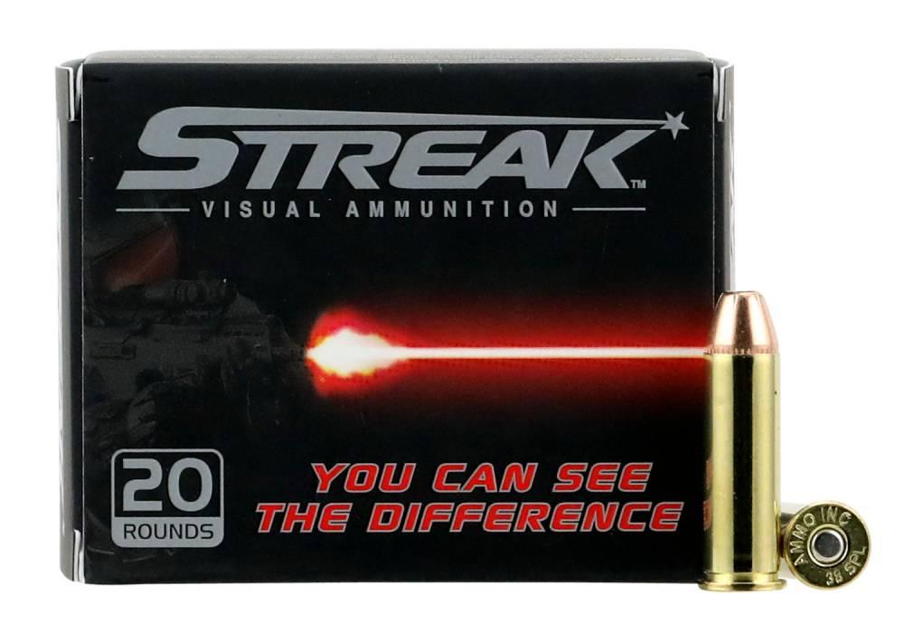 Ammo Inc 38125JHPSTRK Streak  38 Special 125 gr Jacketed Hollow Point (JHP) 20 Bx/ 10 Cs