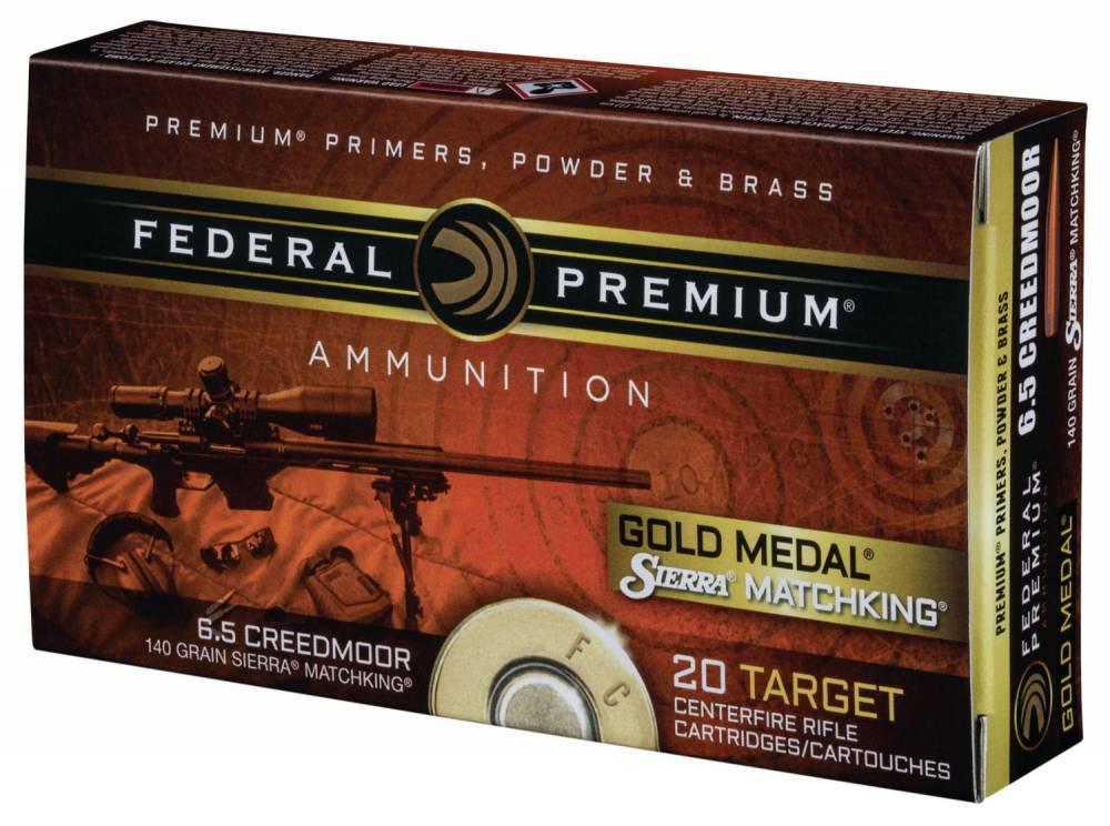 Federal GM65CRD1BAG1 Gold Medal 6.5 Creedmoor 140 gr Sierra MatchKing Boat-Tail Hollow Point (BTHP) 20 Bx/ 4 Cs