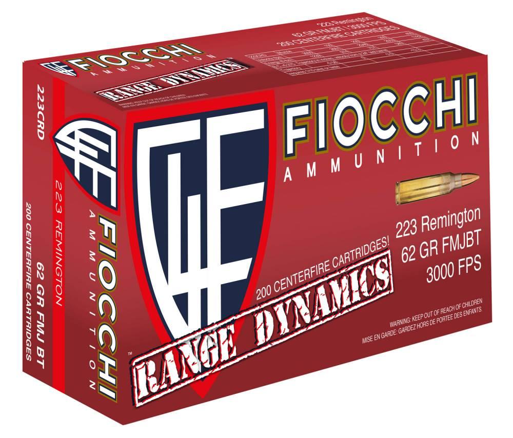 Fiocchi 223CRD Range Dynamics 223 Rem 62 gr Full Metal Jacket Boat Tail (FMJBT) 1000 Bx/ 1 Cs