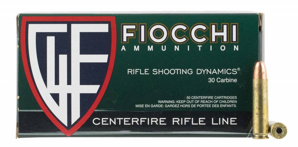 Fiocchi A30M1CA Shooting Dynamics 30 Carbine 110 gr Full Metal Jacket (FMJ) 50 Bx/ 10 Cs