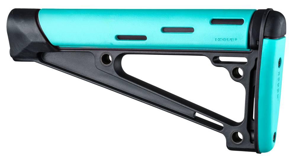 Hogue 13441 OverMolded Fixed Buttstock AR-15 A2 Rubber/Polymer Black/Aqua