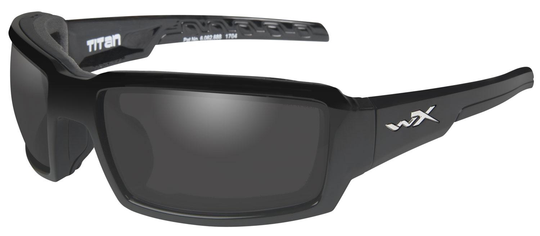 Wiley X CCTTN08 Titan Eye Protection Polarized Smoke Gray Lens Black Gloss