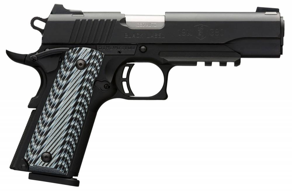 Browning 1911-380 Black Label Pro with Rail Single 380 Automatic Colt Pistol (ACP) 4.25