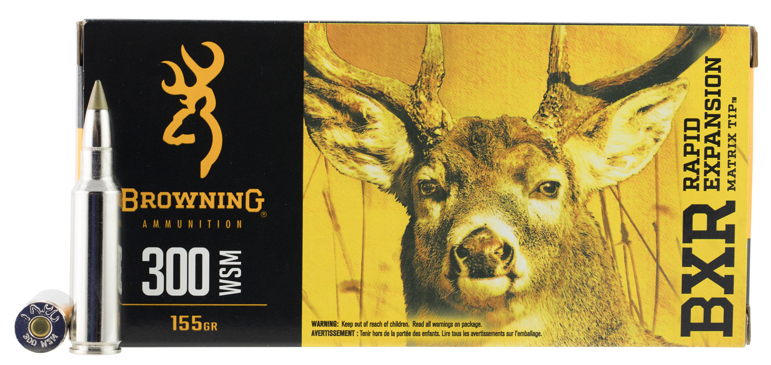 Browning Ammo BXR Rapid Expansion 300 Winchester Short Magnum 155 GR Matrix Tip 20 Bx/ 10 Cs