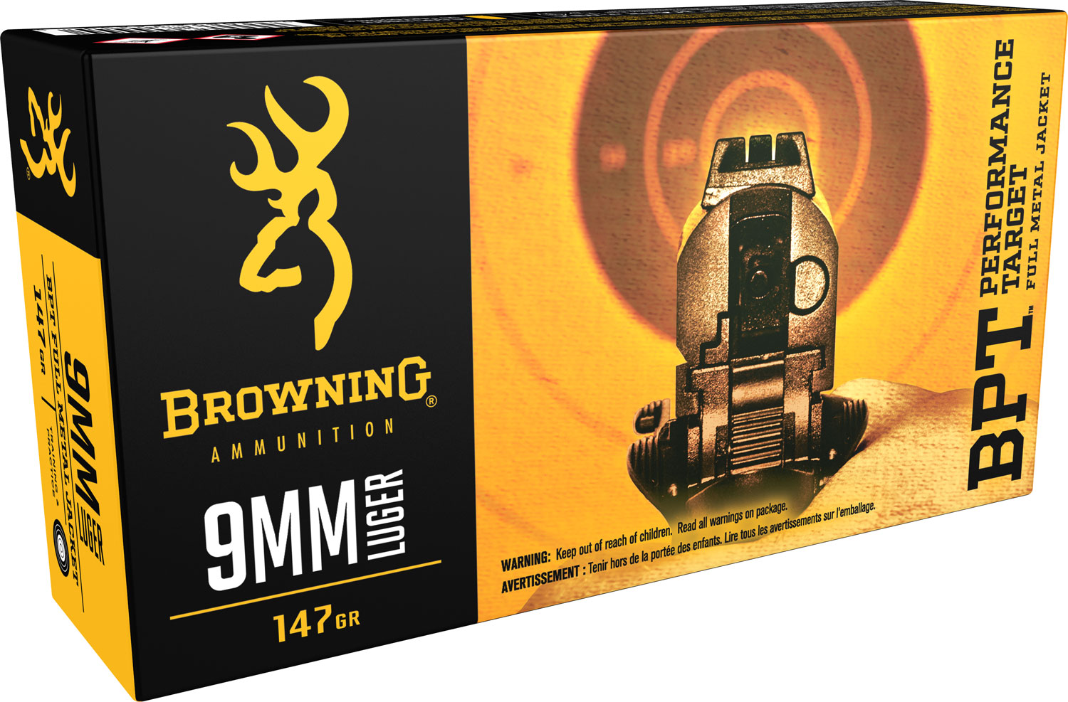 Browning Ammo BPT Performance 9mm Luger 147 GR Full Metal Jacket 50 Bx/ 10 Cs