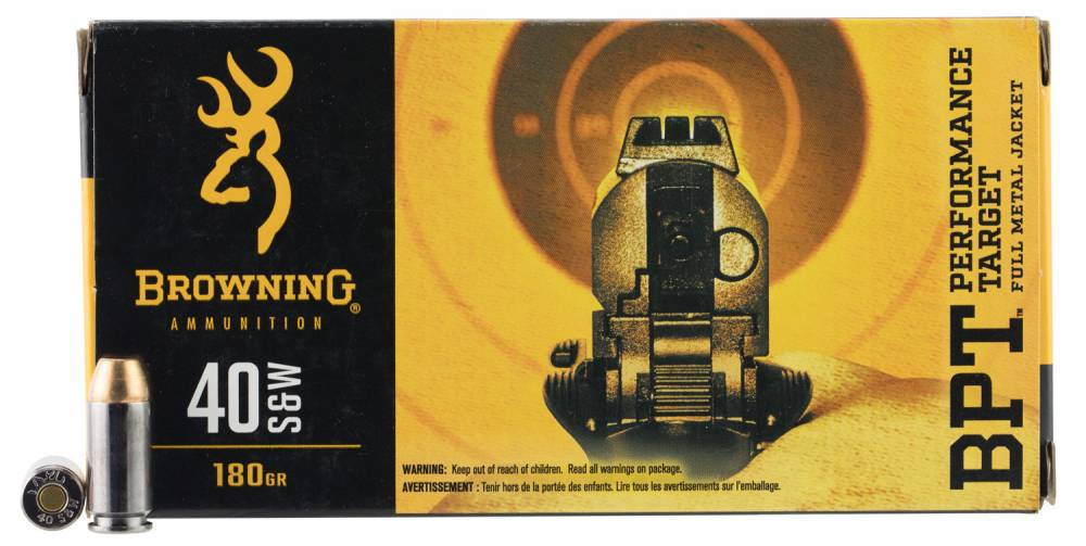 Browning Ammo BPT Performance 40 Smith & Wesson 180 GR Full Metal Jacket 50 Bx/ 10 Cs